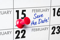 Wall calendar with a red pin - February 15