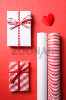 Two Wrapped Presents with Red Heart