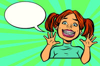 Funny girl with braces