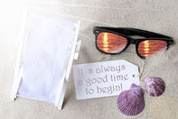 Sunny Flat Lay Summer Label Always Good Time To Begin