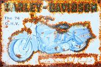 Vintage-Blechschild The 74 O.H.V. Harley Davidson