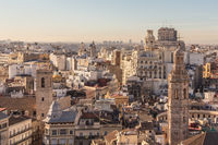 Cityscape aerial view of buildings of Valencia, Spain.