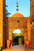 M'hamid, Morocco - February 22, 2016: Chez le Pacha hotel front door outside view
