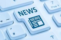 Online Zeitung Nachrichten News Computer Tastatur blau