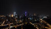 Night illuminated Kuala Lumpur, Malaysia