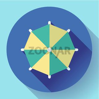 Beach umbrella, top view icon. Vector. Flat design style.