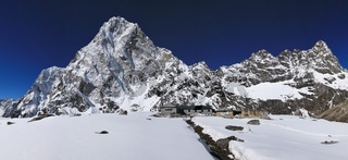 Lodges in Dzonglha and mount Cholatse. Spring day in the Mount Everest National Park, Nepal.