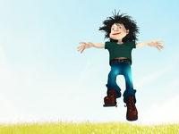 Cartoon character jumping