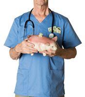 Senior doctor in scrubs with piggybank