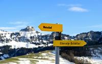 Wegweiser im Appenzellerland zeigt in gegensätzliche Richtungen,Schwende, Schweiz