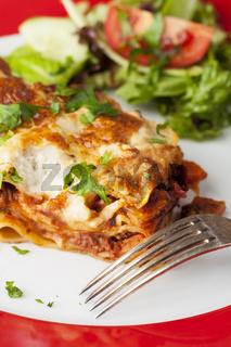 Portion frische Lasagne auf dem Teller
