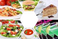 Sammlung Collage Essen und trinken Gerichte Getränke Restaurant Karte