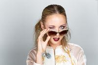 beautiful girl with fashion eyewear