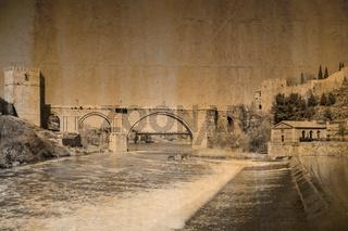 Postkarte im vintage look von Toledo mit der Brücke San Martin, Spanien