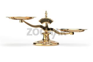 Golden balance scales isolated on white background.