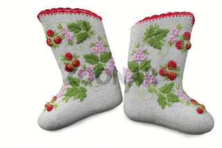 Beautiful warm shoes of felt in the national style.