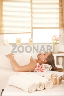 Young woman in massage parlour