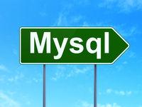Software concept: MySQL on road sign background