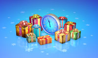 Christmas fairy-tale gifts. Beautiful boxes, clock. New Year. 3D illustration.