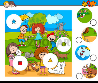 match pieces puzzle with children and pets