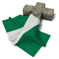christliches kreuz und flagge von nigeria - 3d rendering