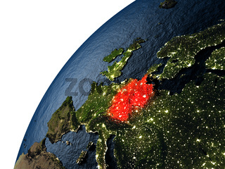 Germany in red on Earth at night