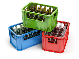 Empty bottles  in the strage crate for bottles. Glass recycling concept.