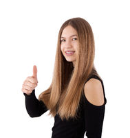 girl showing thumb up