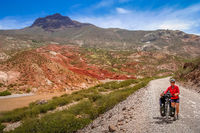 Woman cycling on the Ruta 40 Quarenta in Argentina
