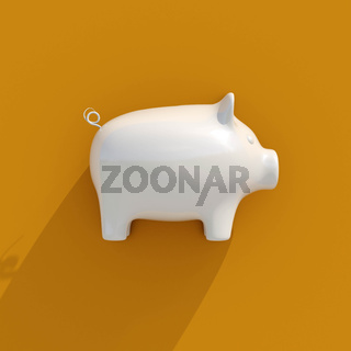 3d White Piggy Bank Icon