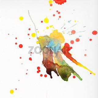 Multicolored watercolor splashes over white background