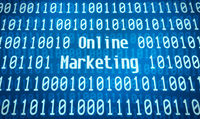 Binary code with the word Online Marketing in the center