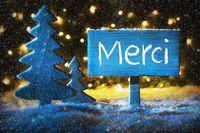 Blue Christmas Tree, Merci Means Thank You, Snowflakes