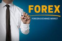 forex wird von Geschäftsmann geschrieben hintergrund