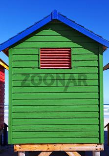 Buntes Badehäuschen von Muizenberg, Südafrika, colorful beach cabin, Muizenberg, South Africa