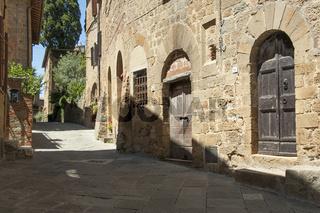 Monticchiello , Dorf der Crete Senesi, Val d'Orcia, Toskana, Italien