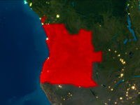 Angola in red at night