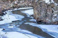 mountain river in winter scenery