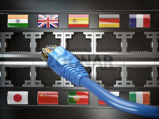 E-learning, translate foreign languages, online vocabilary, multilingual support or change of ip location concept. Flags of countries and ethernet plug and sockets.
