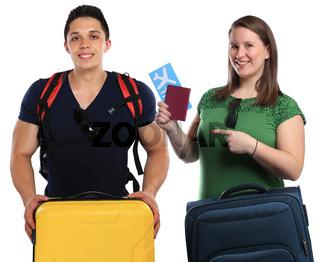 Junge Leute mit Koffer Reise reisen verreisen Urlaub fliegen Freisteller