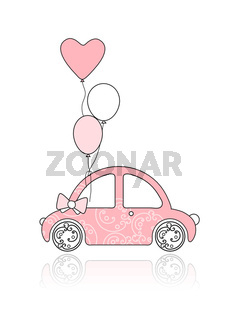 Pink female car with floral ornament and balloons for your design