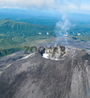 Aerial view to Karymsky volcano, Kamchatka peninsula, Russia