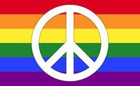 LGBT Regenbogenfahne mit Friedenssymbol