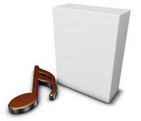symbol musiknote und weiße kiste - 3d rendering
