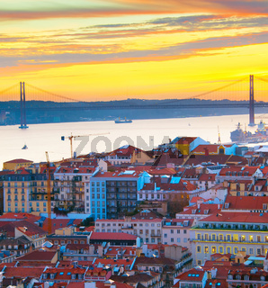 Lisbon view at sunset, Portugal