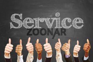 'Service' Spruch auf Tafel
