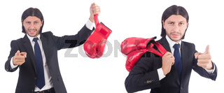 Businessman with boxing gloves on white