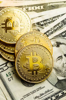 Golden bitcoins. Cryptocurrency and dollars currency.