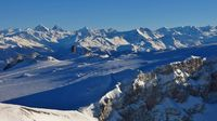 Diablerets glacier and mountain ranges in winter. Switzerland.