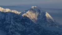 Mount Kusum Kangru just before sunset. View from the Gokyo valley, Sagarmatha National Park, Nepal.